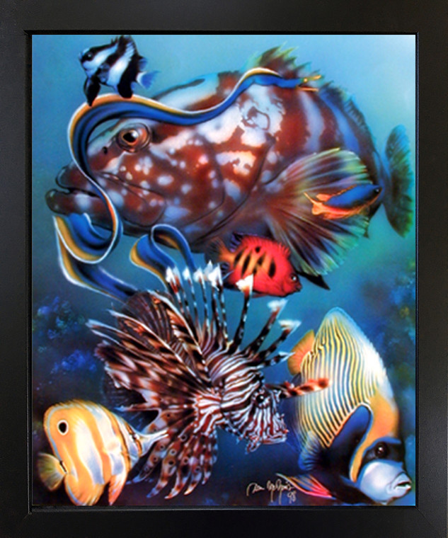 Impact Posters Gallery Wall Decor Tropical Fish Underwater Ocean Animal Black Framed Art Print Picture (18x22)