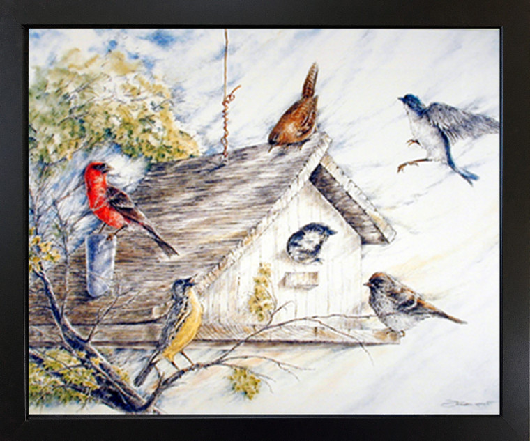 Framed Wall Decoration Birds at Birdhouse Wild Animal Nature Black Framed Picture Art Print (18x22)
