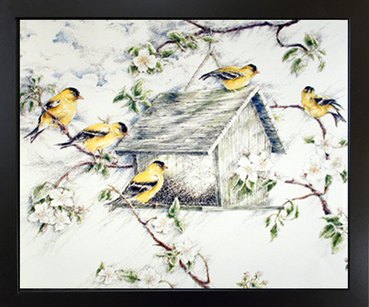 Gold Finches Feeder in Snow Wild Birds Picture Black Framed Art Print Framed Wall Decoration(18x22)
