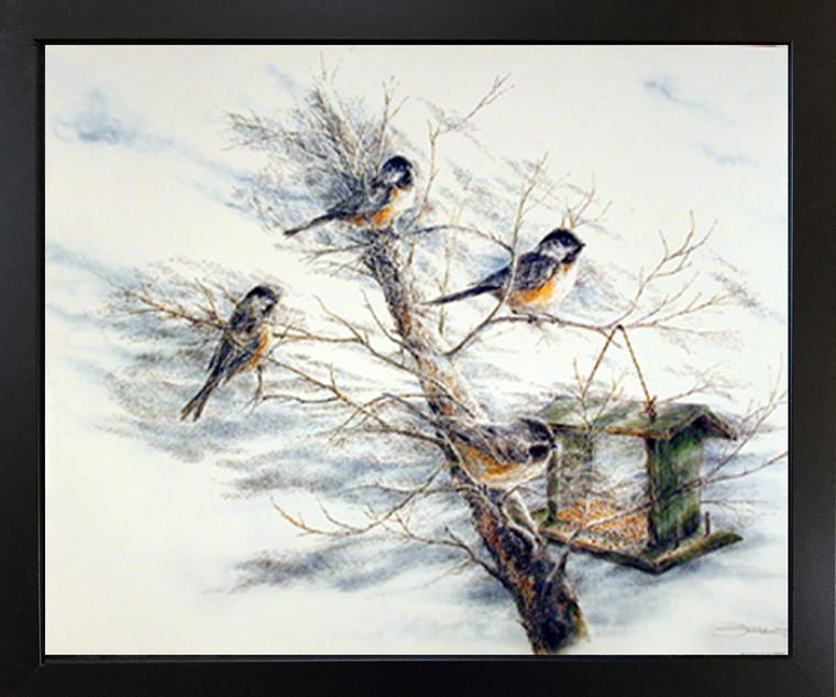 Tree Chickadee Birds House Animal Wall Room Black Framed Art Print Picture Poster (18x22)