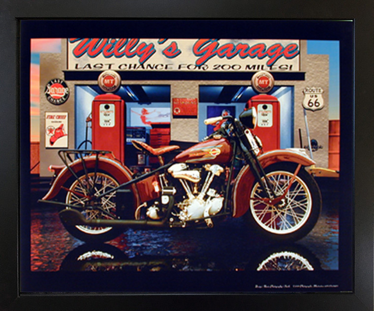 Impact Posters Gallery Motorcycle Framed Harley Davidson Willy's Garage Vintage Black Wall Decoration Picture Art Print (18x22)