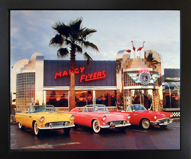 1955 1956 1957 Ford Thunderbirds Vintage Car Black Framed Picture Wall Decor Art Print Poster (18x22