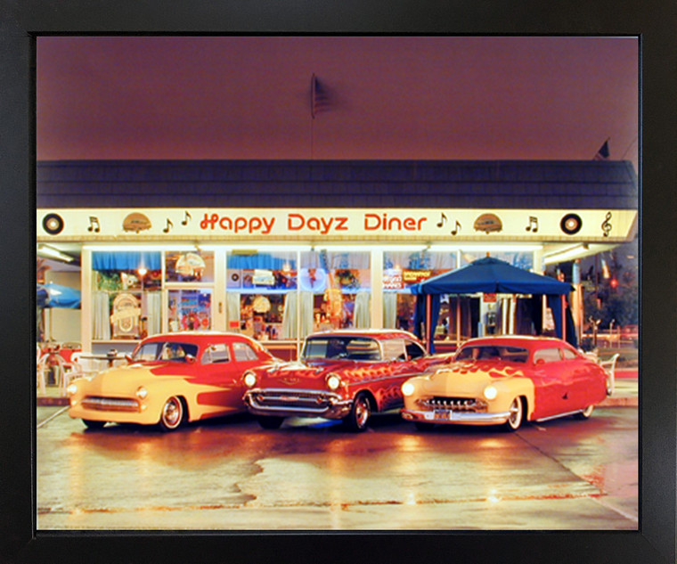 Impact Posters Gallery Chevy Happy DayZ Diner 57 Bel Air 50's Mercury Car Wall Decor Black Framed Art Print Picture (18x22)