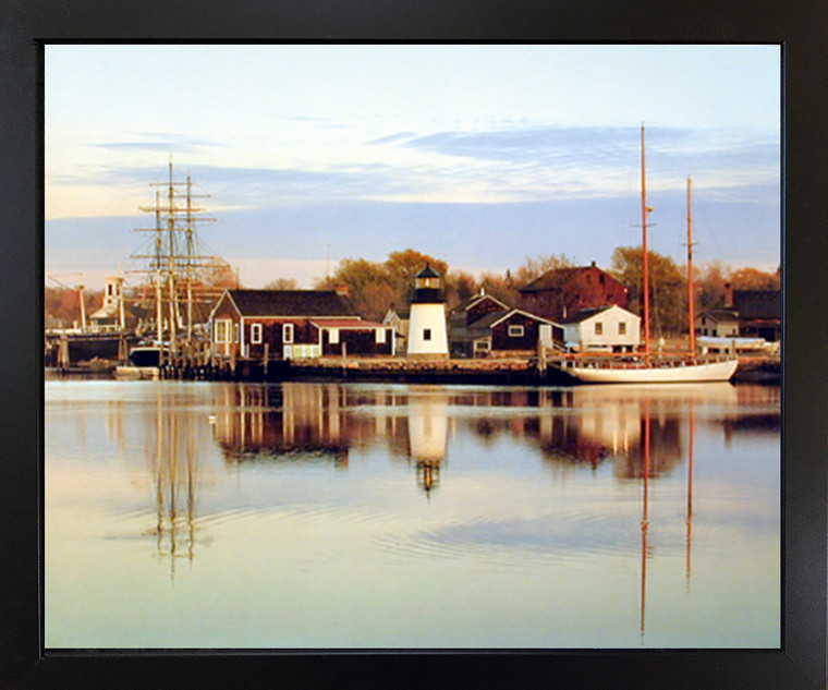 Peaceful Harbor Boats Scenery Nature Black Wall Framed Picture Art Print(18x22)