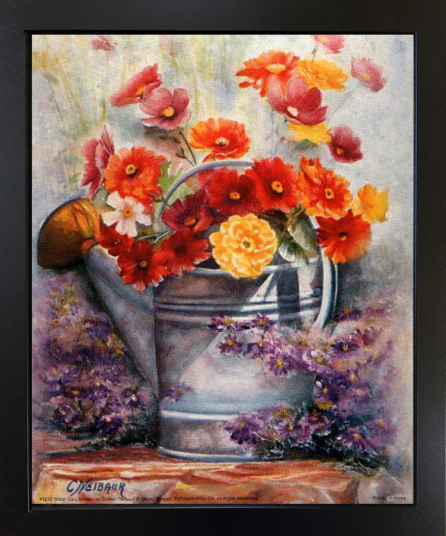 Water Can Picture Framed Bedroom Wall Decor Flowers Still Life Black Framed Art Print (18x22)