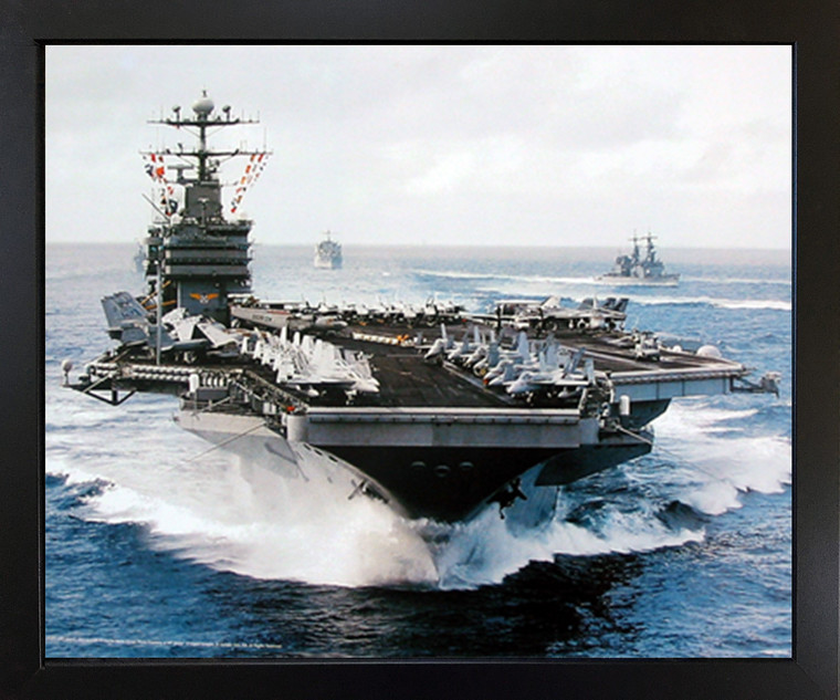 Impact Posters Gallery Navy Ship Framed Wall Decoration Aircraft Carrier USS John C. Stennis Military Black Picture Art Print