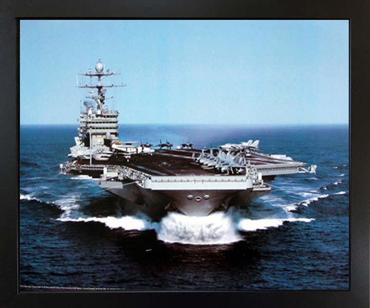 Impact Posters Gallery US Aircraft Framed USS Harry Truman Navy Carrier Art Print Wall Decoration Espresso Picture (18x22)