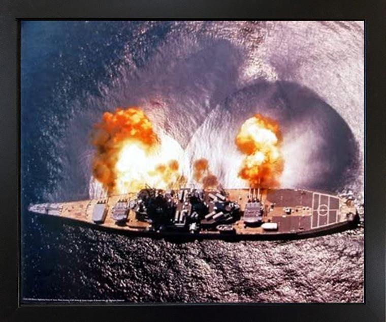 Impact Posters Gallery USS Military Navy Framed Wall Decoration Missouri Battleship Firing Guns Black Framed Picture Art Print