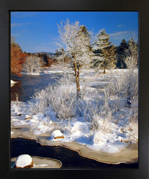 Yosemite National Park Snow River and Trees Scenery Landscape Wall Decor Black Framed Art Print Picture(18x22)