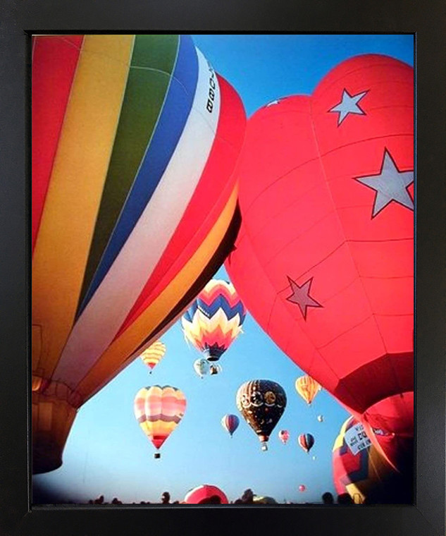 Impact Posters Gallery Hot Air Balloons Fiesta in Sky Kids Room Black Art Print Framed Wall Decor Picture