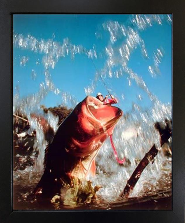 Fish Hooked Lure Bass Fishing Oak Ocean Wall Decor Black Framed Picture Art Print (18x22)