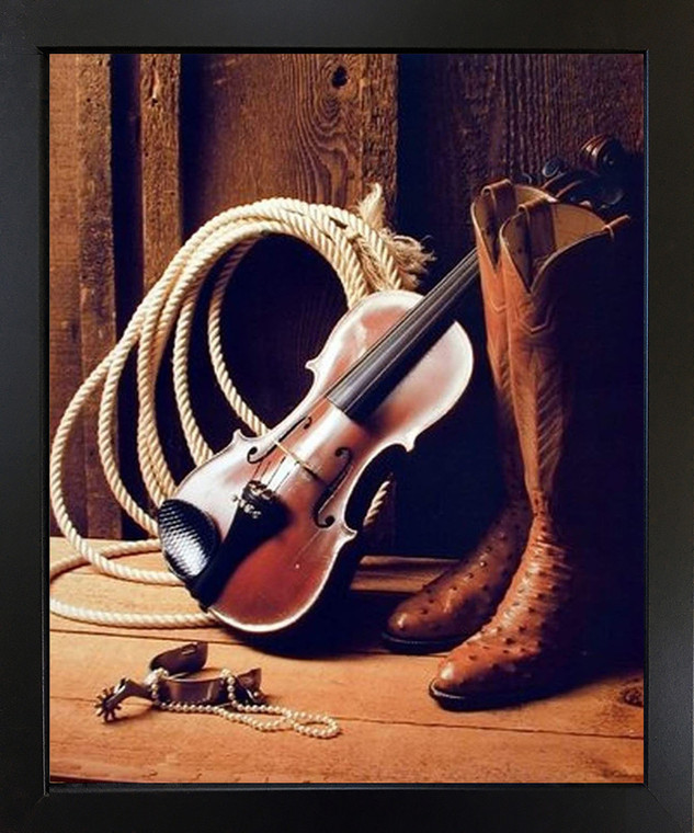 Framed Wall Decoration Western Cowboy Boots with Violin Fiddle Spur Rope Rodeo Black Picture Art Print (18x22)
