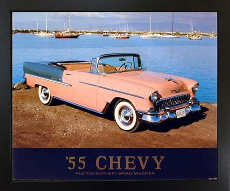 Impact Posters Gallery 1955 Chevy Bel Air Convertible Classic Car Wall Decor Black Framed Art Print Picture