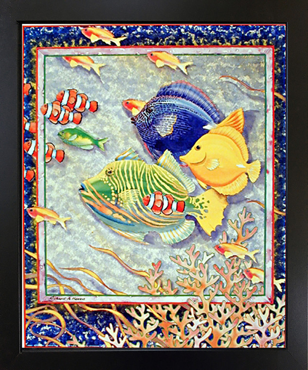 Exotic Tropical Ocean Fish Home Wall Decor Black Framed Art Print Picture (18x22)