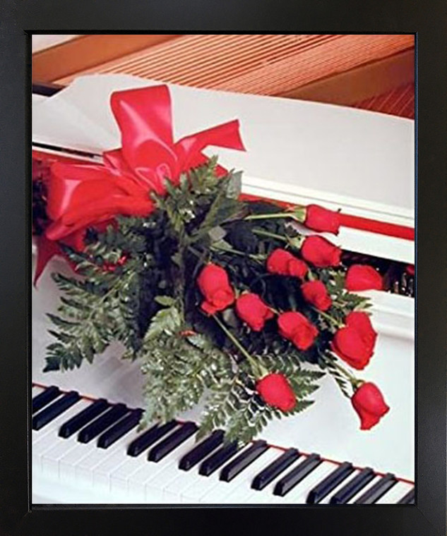 Impact Posters Gallery Red Roses on Piano Musical Instrument Wall Decor Black Framed Picture Art Print (18x22)