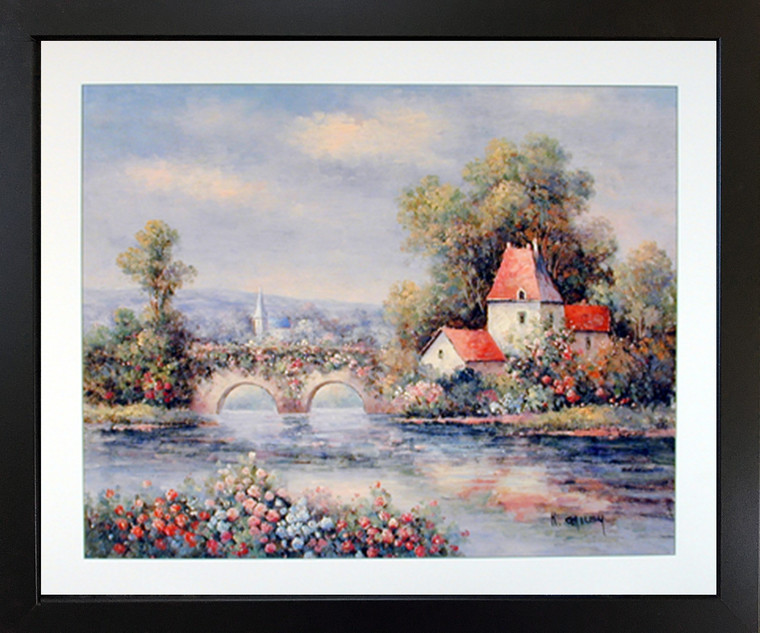 Country Cabin Floral Cottage Bridge Nature Wall Decor Black Framed Picture Art Print