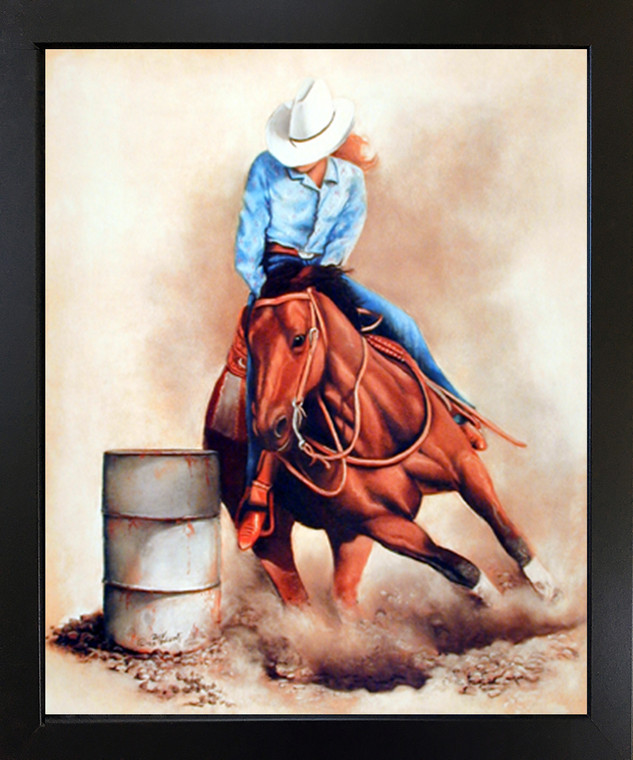 Western Cowgirl Rodeo Barrel Racing Wall Decor Black Framed Picture Art Print (18x22)