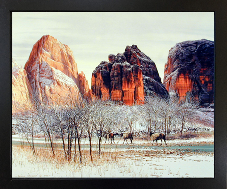 Western Cowboy Mountain Horses Landscape Wall Decor Black Framed Picture Art Print Poster (18x22)