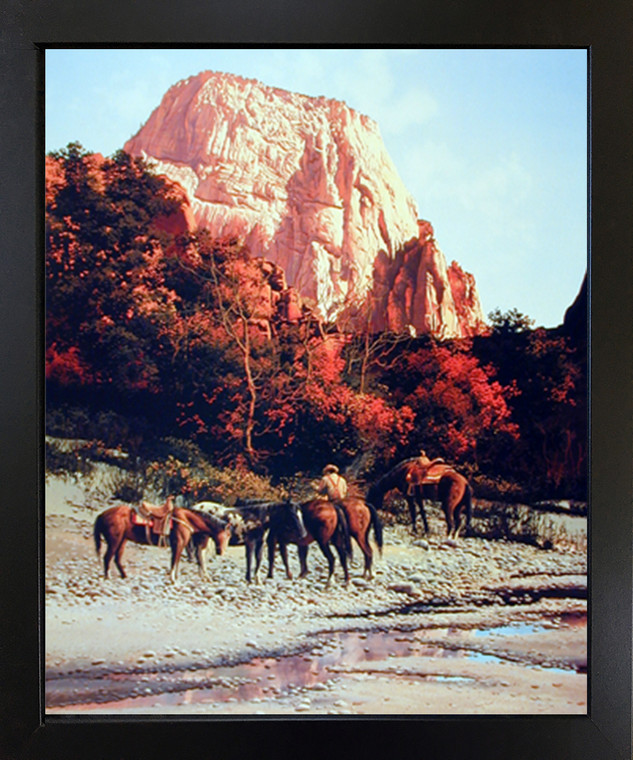 Horses Framed Wall Decor Western Cowboy Mountain Black Picture Art Print (18x22)