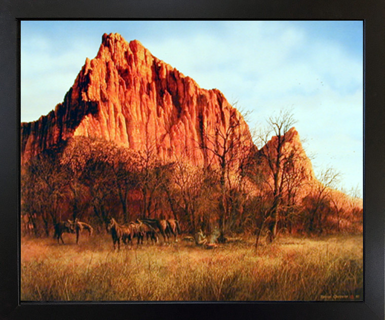 Western Cowboy Horses Mountain Scenery Wall Decor Picture Black Framed Art Print Poster (18x22)