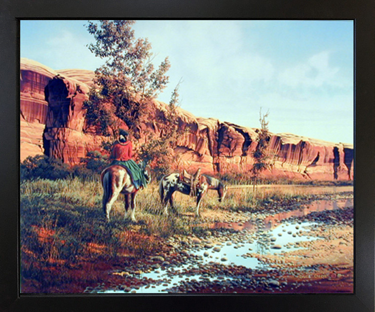 Western Cowboy Horses Wild Animal Picture Wall Decor Black Framed Art Print Poster (18x22)
