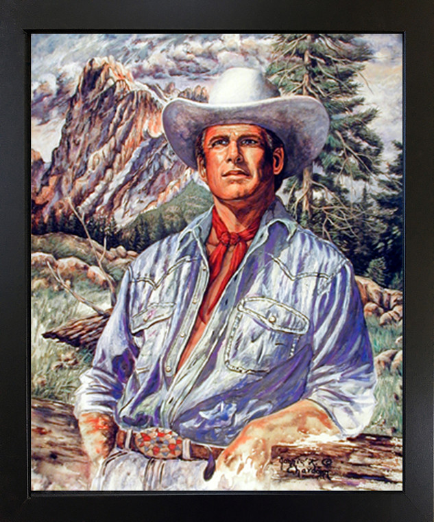 Western Cowboy Old West Wall Decor Black Framed Picture Art Print (18x22)