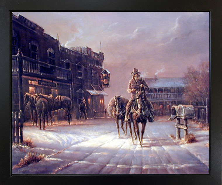 Western City Framed Wall Decor Cowboy Arrival in Dodge Black Art Print Picture Poster (18x22)