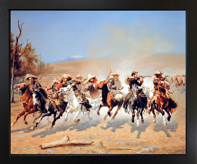 Western Wall Decor A Dash for The Timber Cowboy Shoot Out Southwest Black Framed Art Print Poster (18x22)
