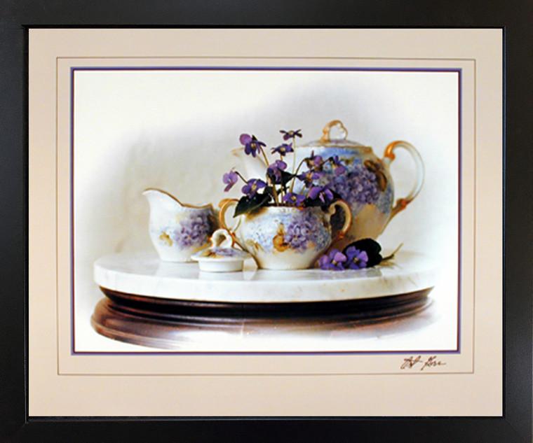 Country Violets Flowers & Tea Pot Still Life Fine Wall Decor Black Framed Picture Art Print (18x22)