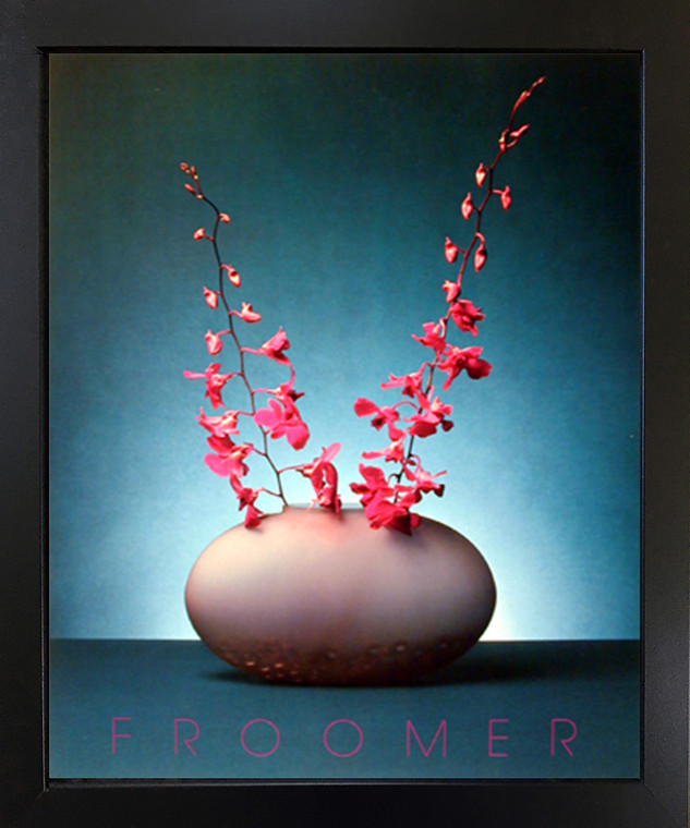 Orchid Pink Flowers Floral Wall Decor Picture Black Framed Art Print (18x22)