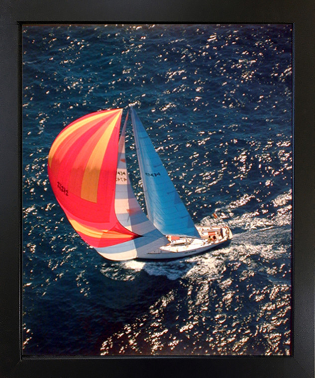 Boating Scenic Black Framed Wall Decoration Art Print Sailboat Phil Wallick Ocean Seascape Poster (18x22)