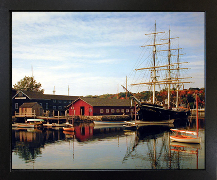 Mystic Seaport and Sailboat Landscape Nature Scenery Wall Decor Picture Black Framed Art Print Poster (18x22)