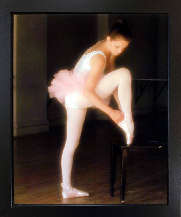 FPG Music Dance Black Framed Wall Living Room Decor Ballerina Ballet Adjusting Toe Shoe Picture Art Print (18x22)
