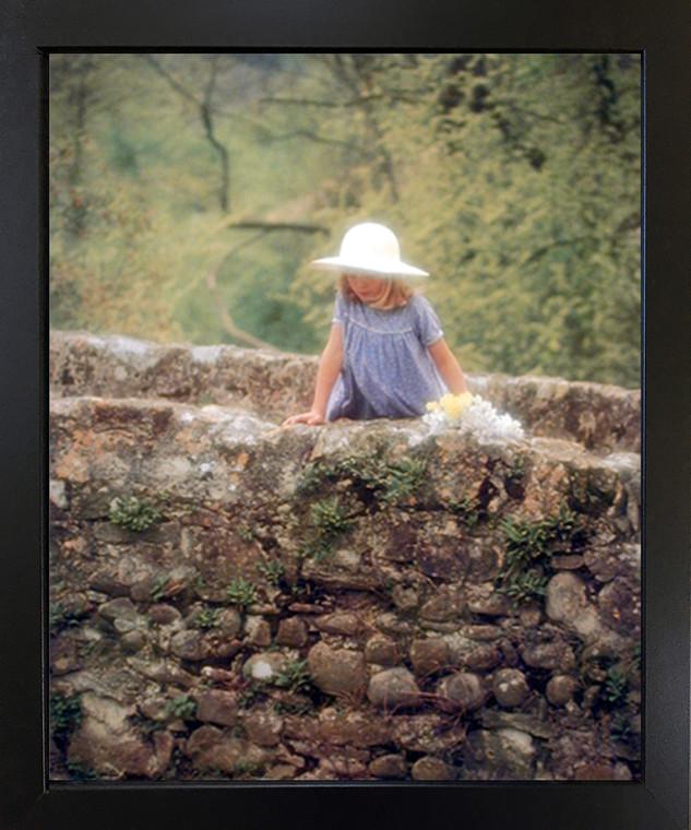 Cute Girl on Stone Bridge Kids Room Wall Decor Black Framed Picture Art Print (18x22)