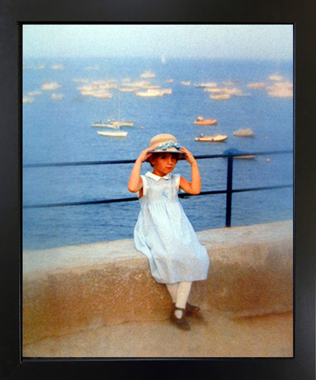 Cute Girl Fixing Her Hat on Bridge Inspirational Kids Room Wall Decor Black Framed Picture Art Print (18x22)