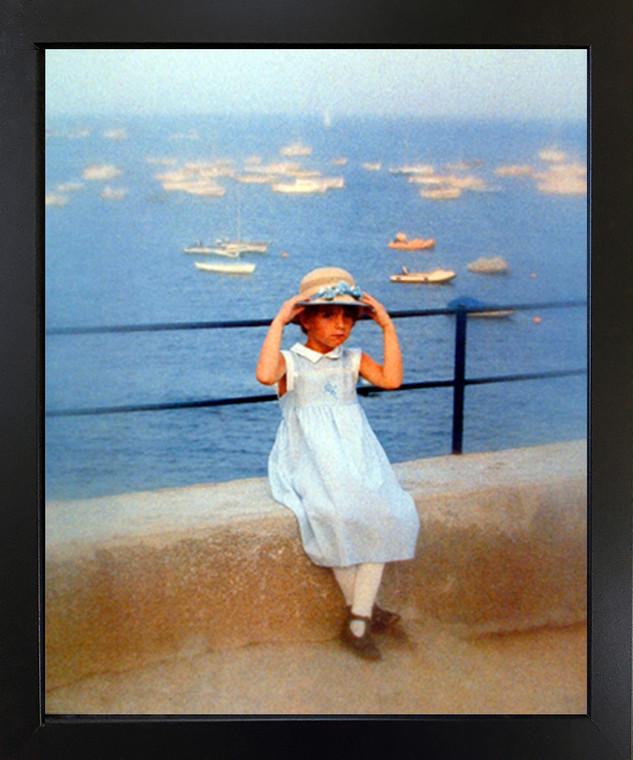 Cute Girl Fixing Her Hat on Bridge Inspirational Kids Room Wall Decor Black Framed Picture Art Print (18x22)