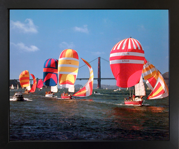 Sailboats Yuschenkoff Ocean Boating Scenic Black Framed Wall Decor Picture Art Print Poster (18x22)
