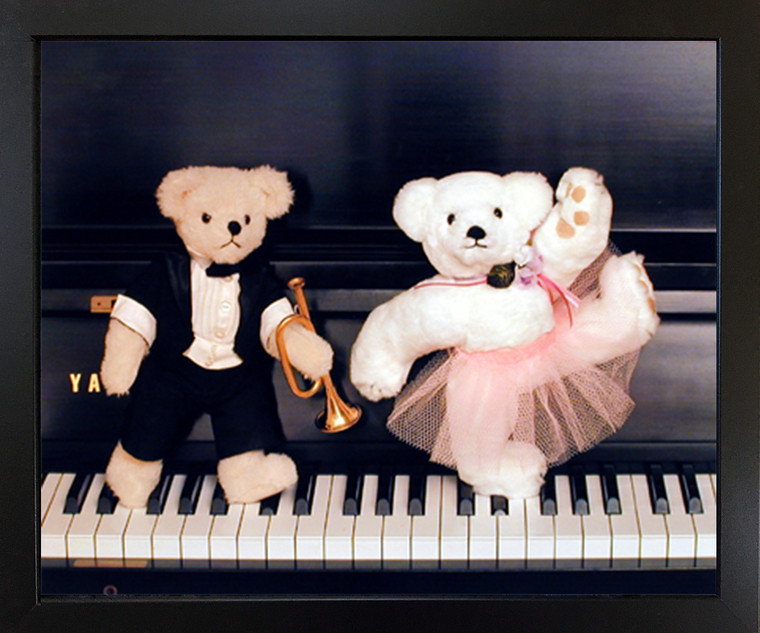 Cute Teddy Bear Couple on Piano Ron Kimball Wall Decor Picture Black Framed Art Print Poster (18x22)