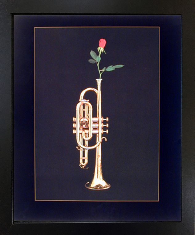 Trumpet with Rose Musical Instrument Wall Decor Black Framed Picture Art Print (18x22)