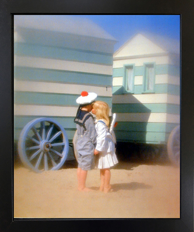 Cute Boy & Girl Kissing Couple Inspirational Wall Black Framed Picture Art Print (18x22)