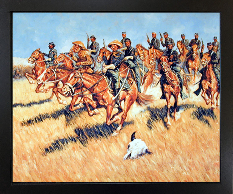 Western Cavalry Into Battle Wild West Wall Black Framed Picture Art Print (18x22)