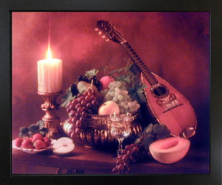 Mandolin Music Instrument & Fruits Still Life Wall Decor Black Framed Picture Art Print (18x22)