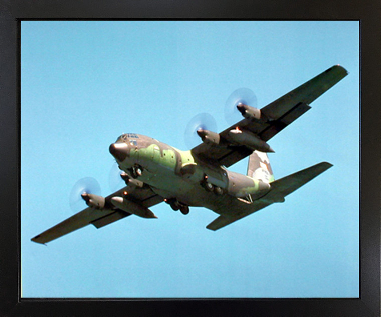 Military C-130 Cargo Airplane Aviation Aircraft Picture Black Framed Art Print (18x22)
