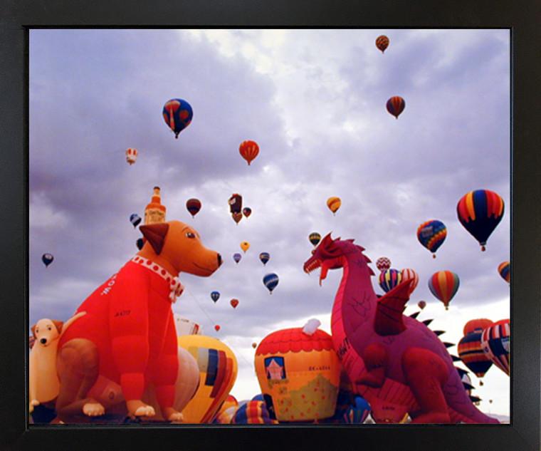 Hot Air Balloon Fiesta in Sky Kids Room Black Framed Wall Decor Picture Art Print (18x22)