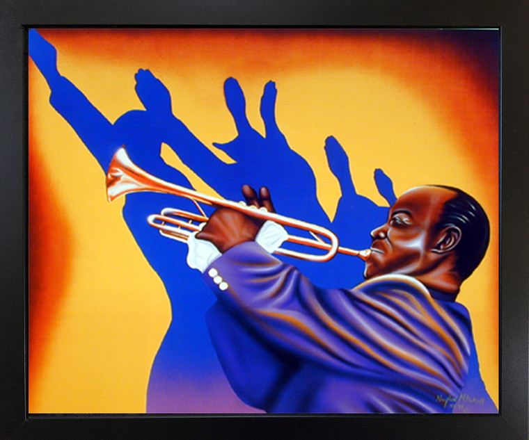 Impact Posters Gallery Birth of The Blues Trumpet Man Music Wall Decor Black Framed Picture Art Print (18x22)