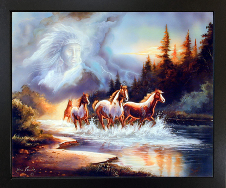 Black Framed Wall Decoration Horse Runs in Lake with Indian Spirit Espresso Art Print (18x22)