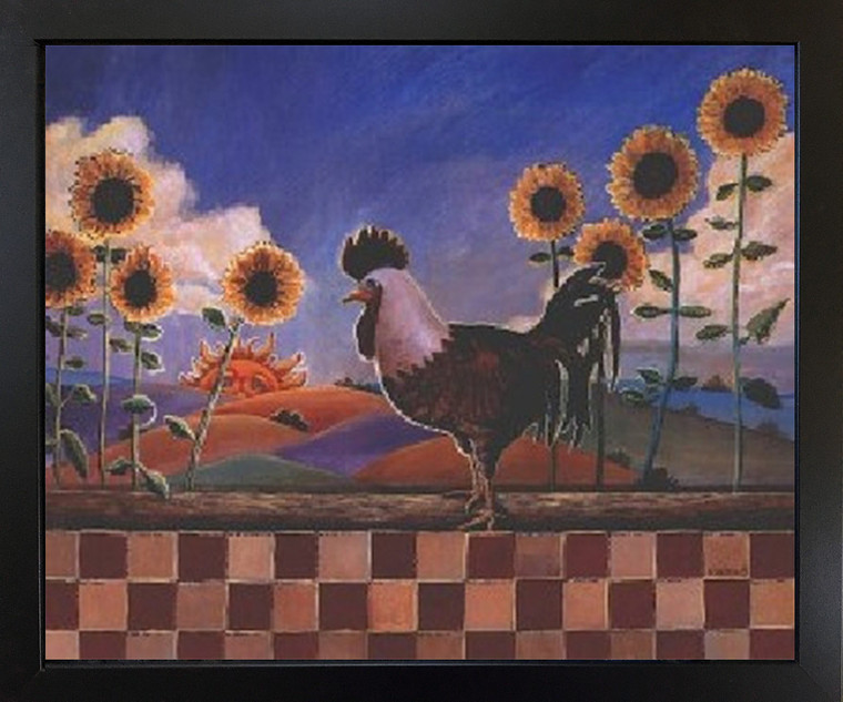 Framed Wall Decor Picture Country Sunflowers and Rooster Chicken Black Framed Art Print Poster (18x22)