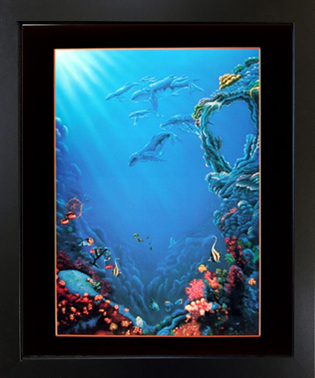 Framed Wall Decoration Tropical Fish and Coral Reef Underwater Ocean Sea Black Framed Picture Art Print(18x22)