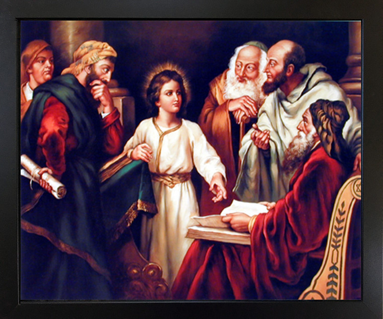 Framed Wall Picture Young Christ with Elders Religion & Spirituality Black Farmed Art Print (18x22)