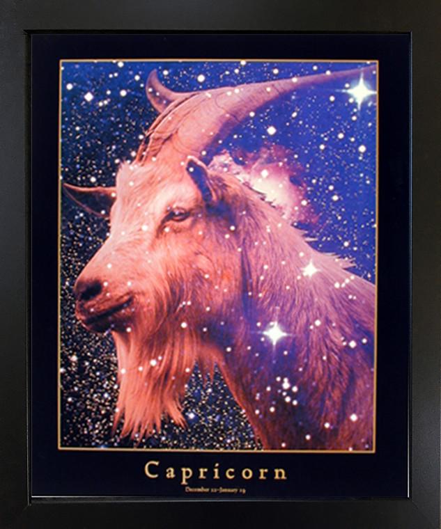 Astrology Capricorn Dec 23 -Jan 19 Zodiac Black Framed Picture Art Print (18x22)